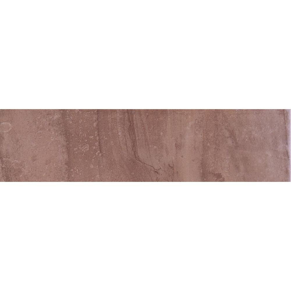 ELIANE Cityscape Plaza Brown 3 in. x 12 in. Glazed Porcelain Bullnose Floor and Wall Tile