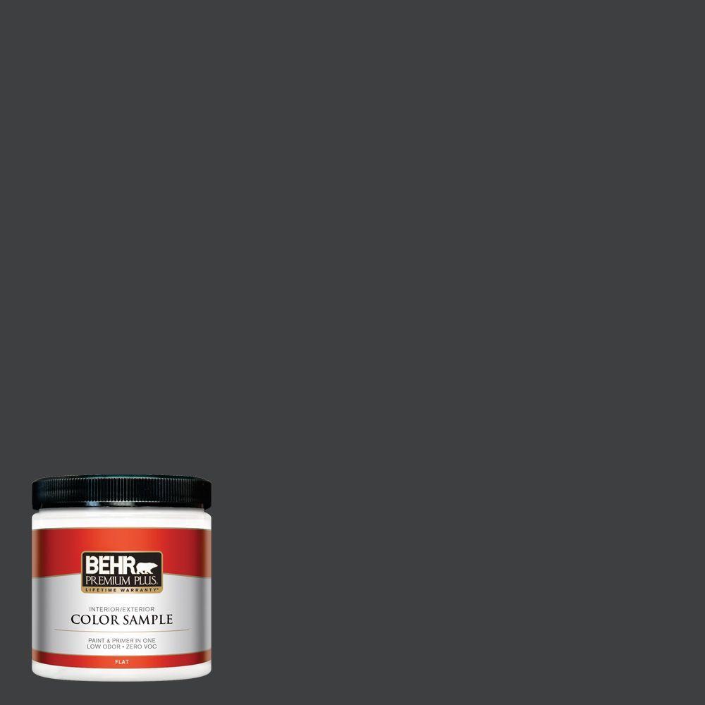 BEHR Premium Plus 8 oz. Home Decorators Collection #HDC-MD-04 Totally Black Flat Interior/Exterior Paint & Primer Sample