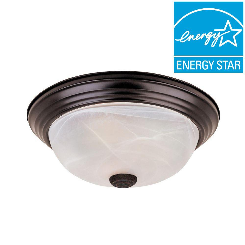 Shelley Collection 3-Light Oil Rubbed Bronze Fluorescent Ceiling Compact Flushmount