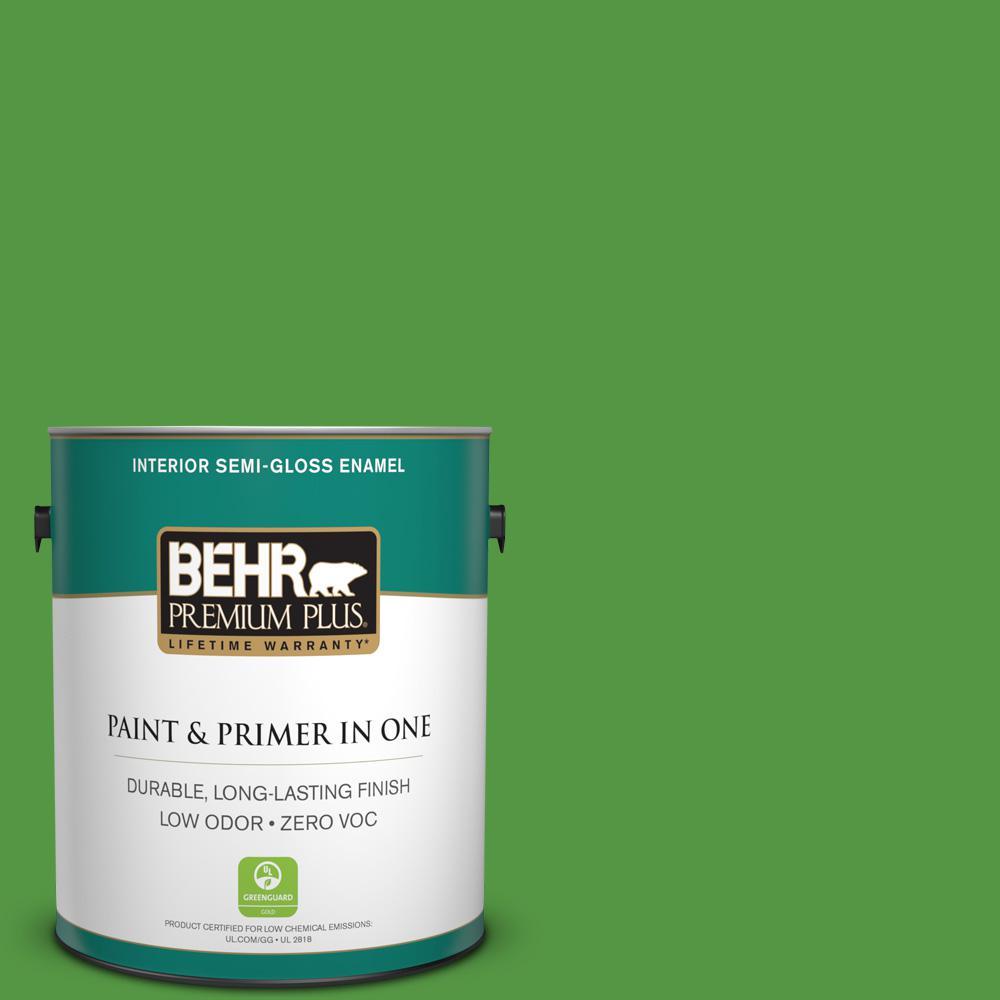 1-gal. #430B-7 Cress Green Zero VOC Semi-Gloss Enamel Interior Paint