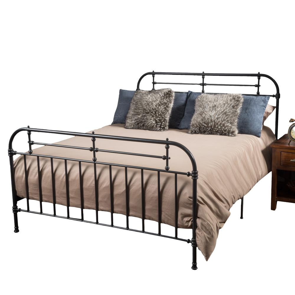 Noble House Charcoal Gray Iron Queen Victorian Bed Frame 295764