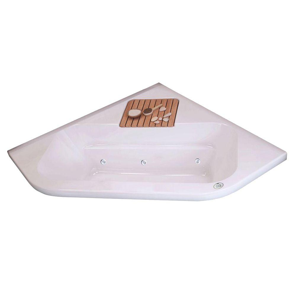 MAAX Loft 6060 Corner 60-1/4 in. x 60-1/4 in. x 21 in. 4 ft. Podium Air Bath Tub with Front Drain in White