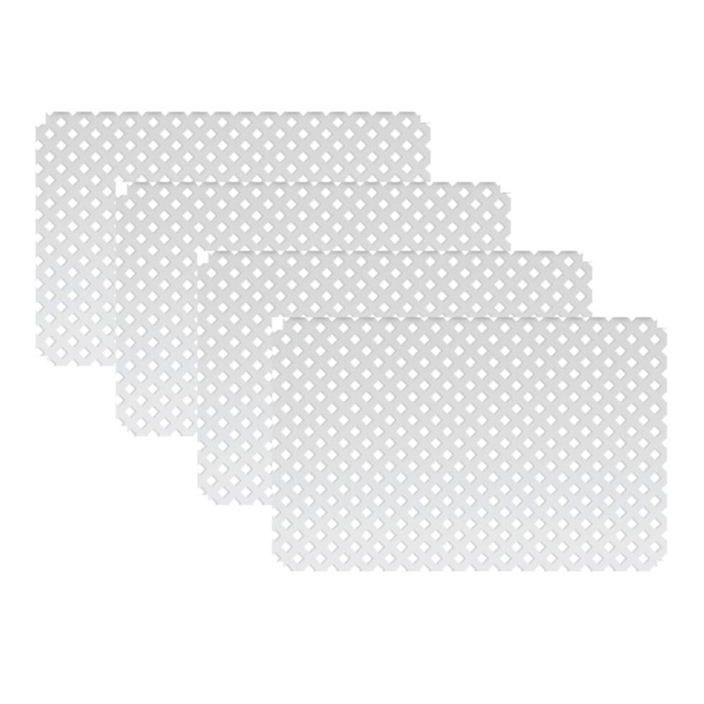 2 ft. 7.5 in. x 4 ft. W White Modular Vinyl Lattice Fence Panel (4-Pack)