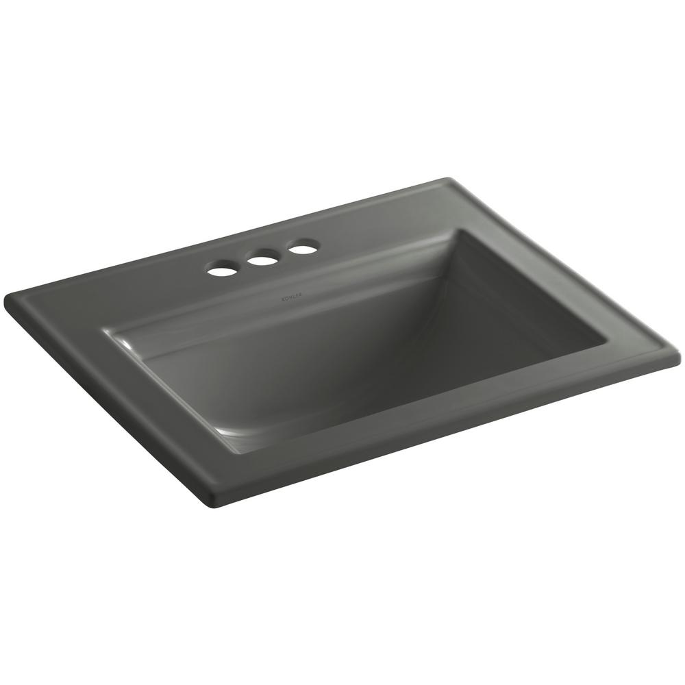 Memoirs Stately Drop-In Vitreous China Bathroom Sink in Thunder Grey with