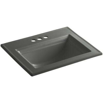 Memoirs Stately Drop-In Vitreous China Bathroom Sink in Thunder Grey with Overflow Drain