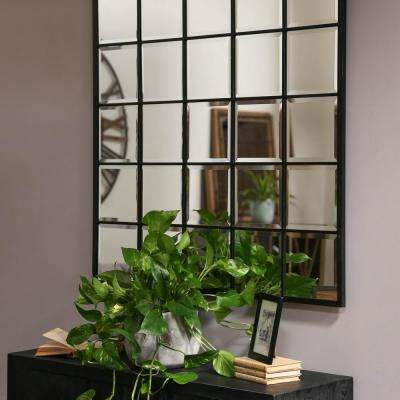 Square Black Metallic Window Pane Wall Mirror