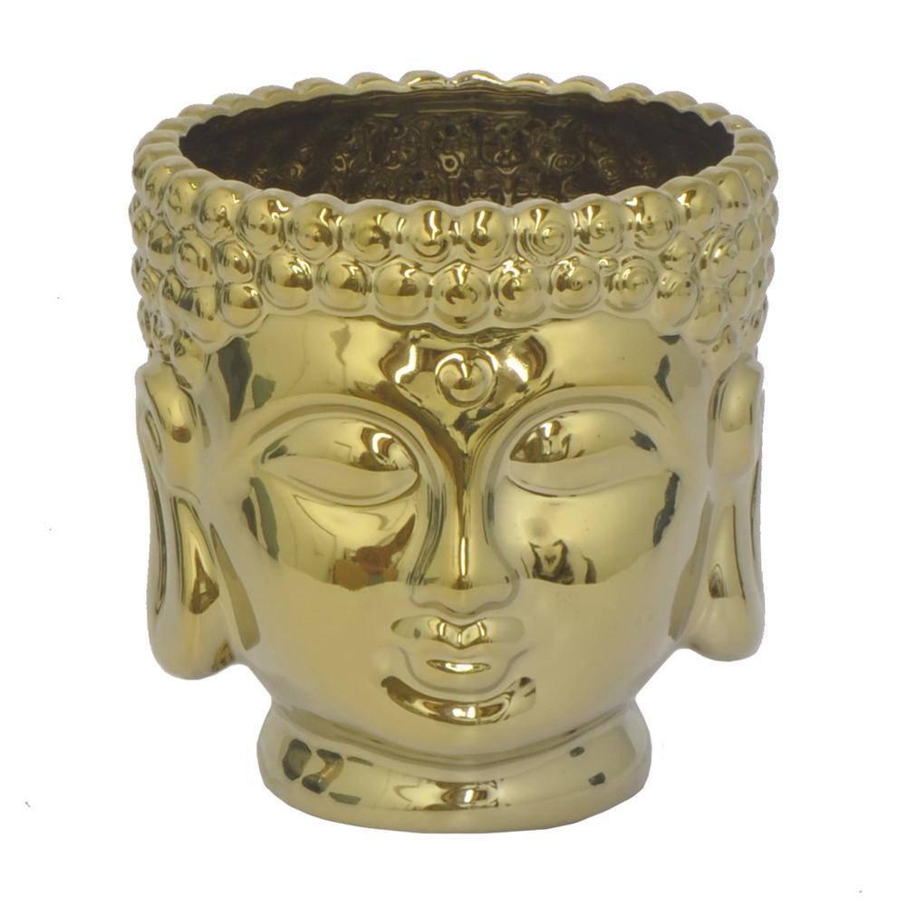5 in. Gold Ceramic Buddha Planter