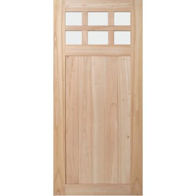 36 in. x 80 in. Farmhouse Unfinished Solid Wood 6 Lite Obscure Glass Interior Door Slab