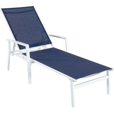 Naples White Frame Adjustable Sling Outdoor Chaise Lounge in Navy Blue Sling