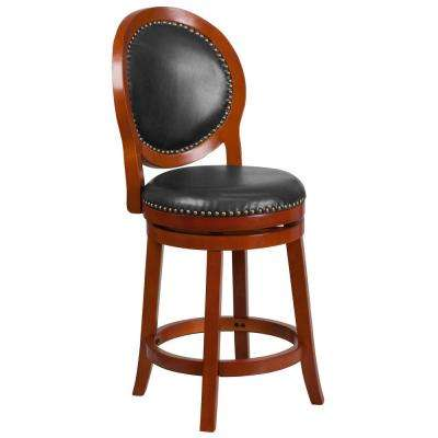 26 in. High Light Cherry Counter Height Wood Stool with Oval Back and Walnut Leather Swivel Seat