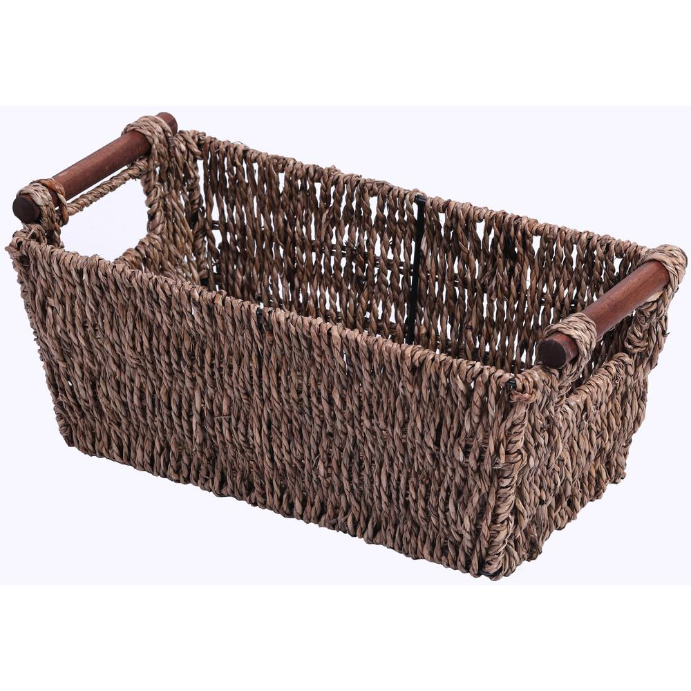 Vintiquewise 12.5 in. W x 5.25 in. H Seagrass Counter-Top Basket Great for Folded Paper Towel, Brown Keep your countertops organized and decorated with this Seagrass paper towel counter basket. Designed to hold folded paper towels, guest towels, or countertop items, this basket will give the perfect rustic appeal to your organization and decor collection. For your home or for guest houses, this basket completes the rustic statement for your countertop display. Color: Brown.