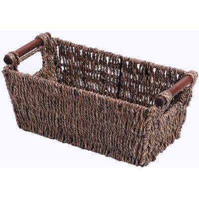 12.5 in. W x 5.25 in. H Seagrass Counter-Top Basket Great for Folded Paper Towel