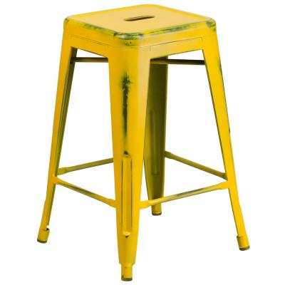 24 in. Distressed Yellow Bar Stool