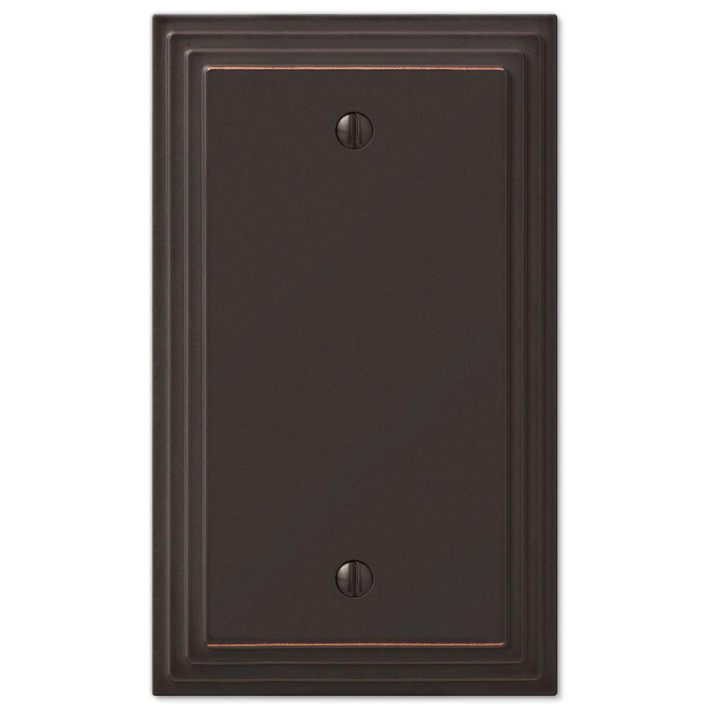 AMERELLE Tiered 1 Gang Blank Metal Wall Plate - Aged Bronze