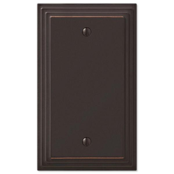 Tiered 1 Gang Blank Metal Wall Plate - Aged Bronze