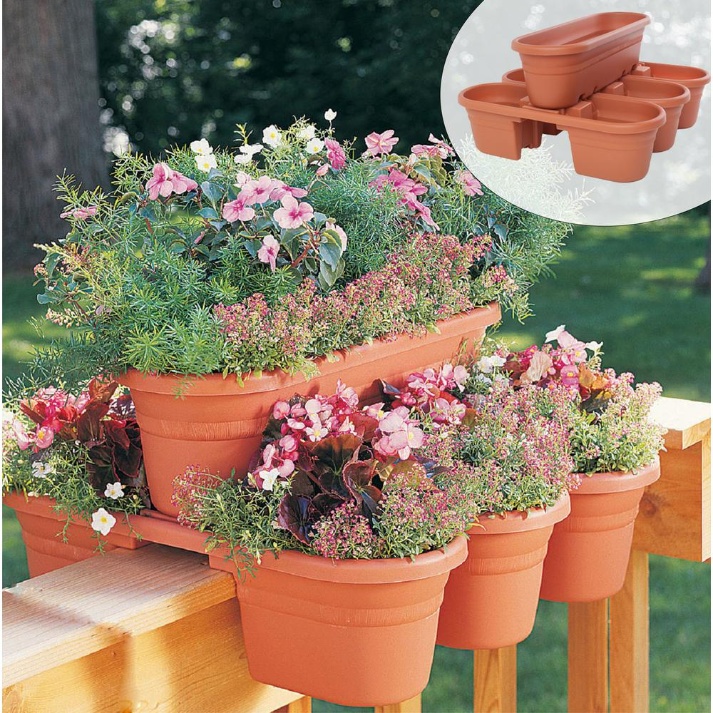 bloem 21 in terra cotta milano plastic deck rail planter 4 piece rh homedepot com Modern Railing Planter Home Depot Deck Rail Planters