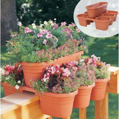 21 in. Terra Cotta Milano Plastic Deck Rail Planter (4 piece)