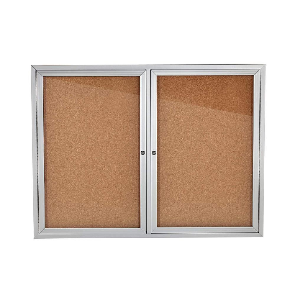 48 in. x 36 in. Grey Lockable Double Door Enclosed Cork Board Bulletin Memo Board