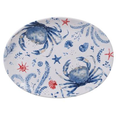 Nautical Life Multi-Colored 16 in. Earthenware Oval Crab Platter