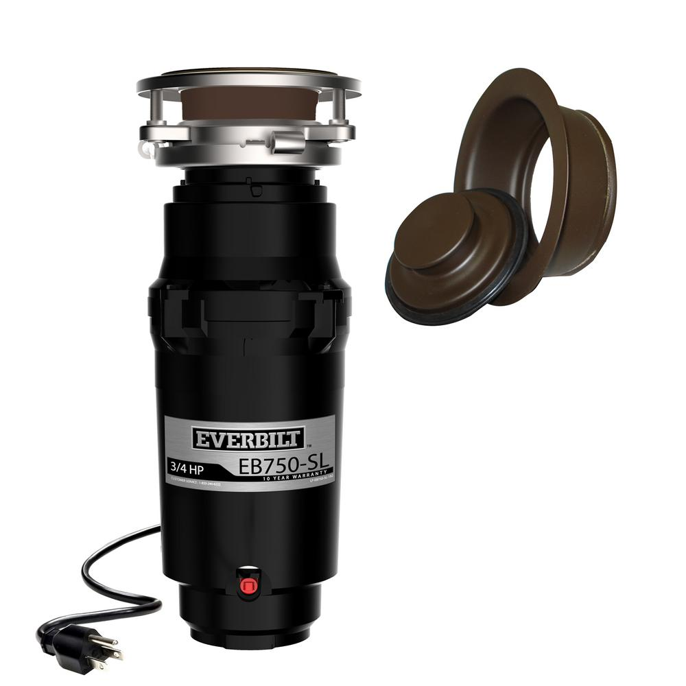Everbilt Designer Series 3/4 HP Slim Continuous Feed Garbage Disposal with Oil Rubbed Bronze Sink Flange and Attached Power Cord