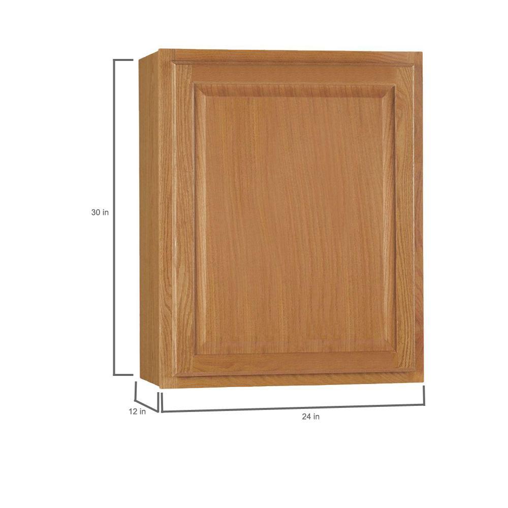 Hampton Bay Hampton Assembled 24x30x12 In Wall Kitchen Cabinet In Medium Oak Kw2430 Mo The Home Depot
