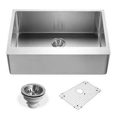Epicure Series Undermount Stainless Steel 30 in. Single Bowl Kitchen Sink, Satin Brushed