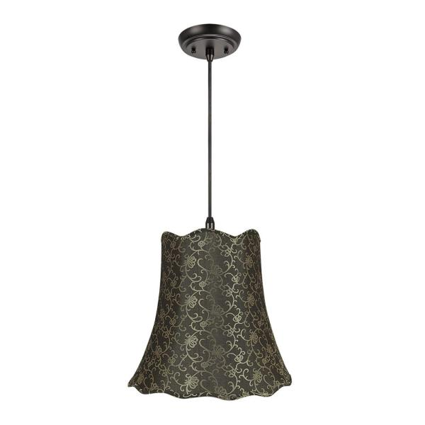 2-Light Oil Rubbed Bronze Pendant with Brown and Gold Accents Scallop Bell Fabric Shade