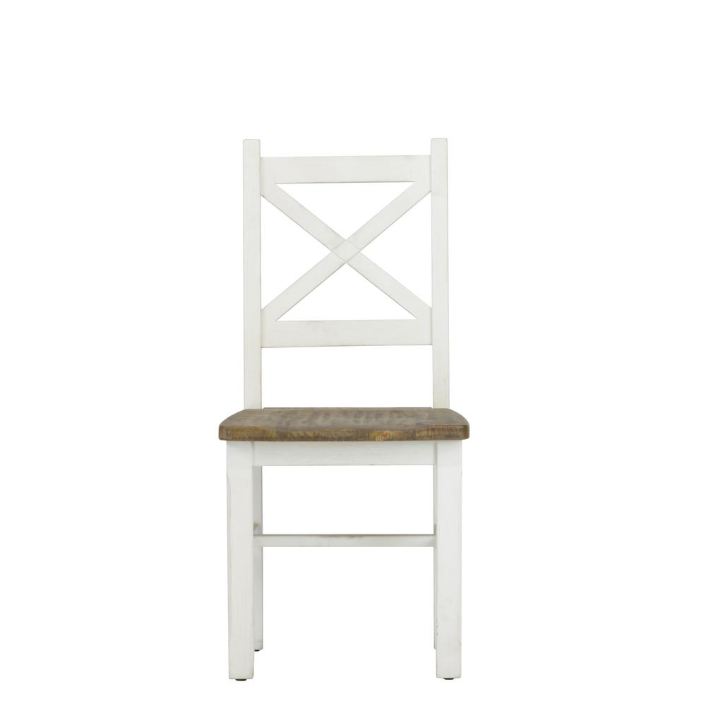 Lux Home Byron Distressed White Solid Reclaimed Wood Dining Side Chair (Set  Of 2)