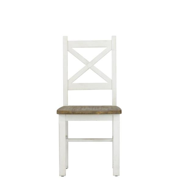 Lux Home Byron Distressed White Solid Reclaimed Wood Dining Side Chair