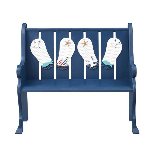 You're Benched 38 in. x 42 in. Blue Wooden Accent Bench