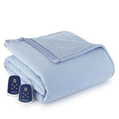 Reverse to Sherpa King Wedgewood Electric Heated Blanket
