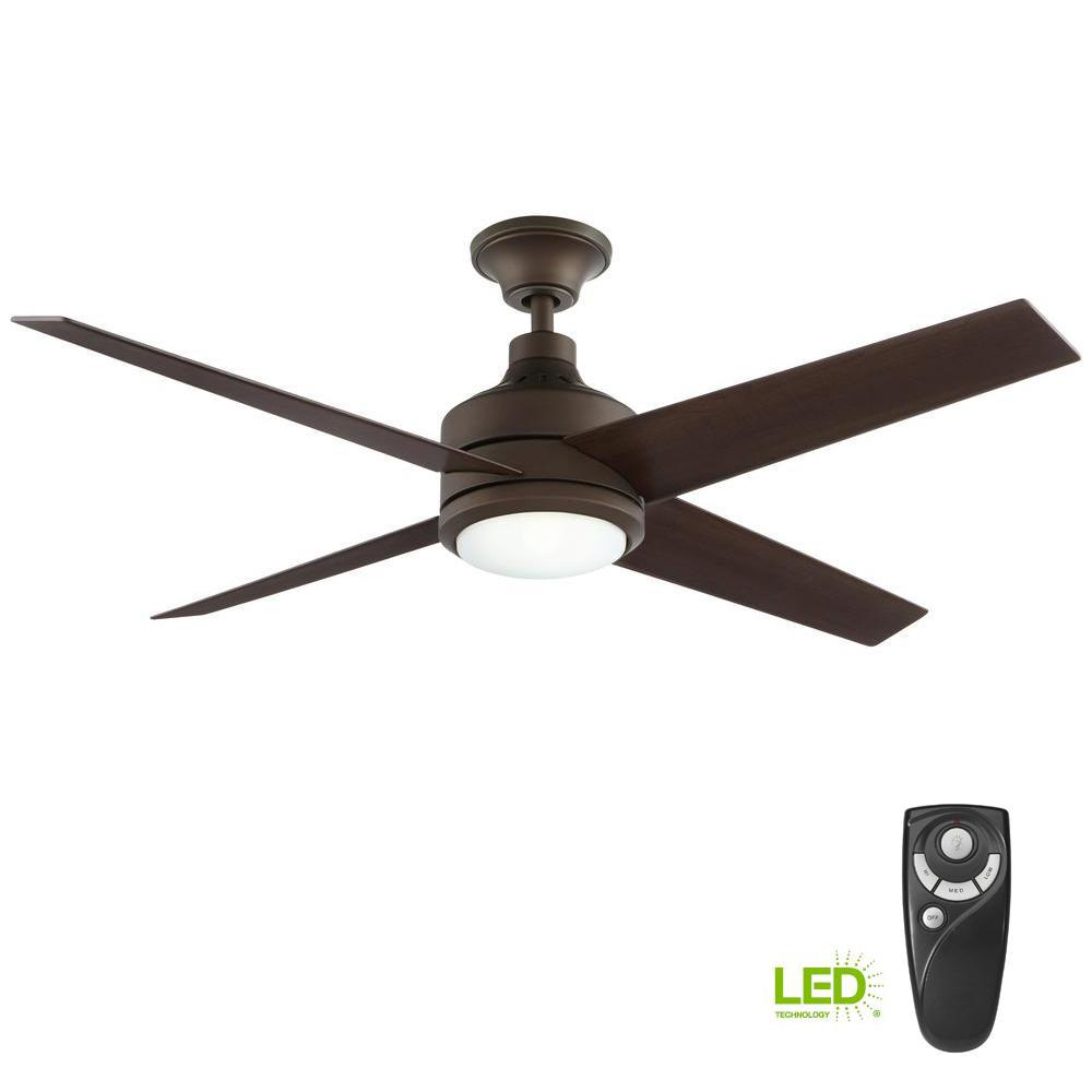 Home Decorators Collection Mercer 52 In Integrated Led Indoor Oil Rubbed Bronze Ceiling Fan With