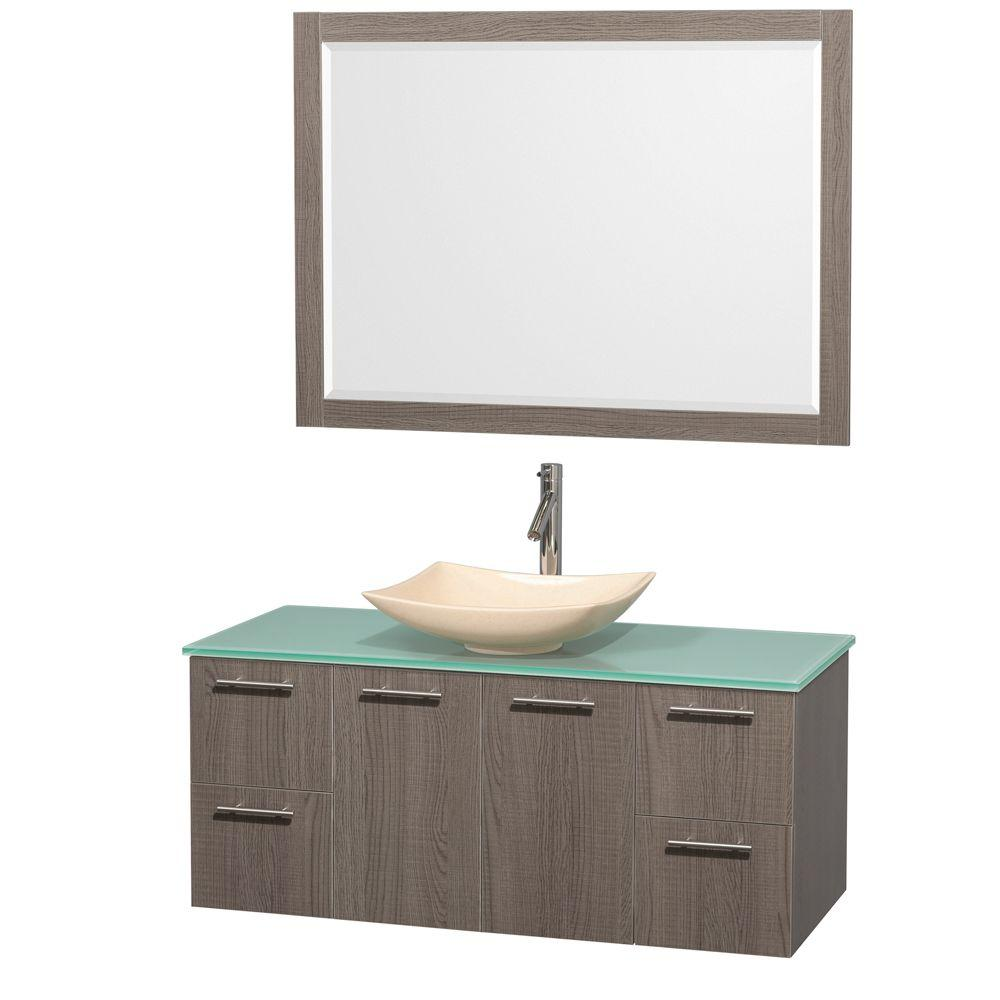 Wyndham Collection Amare 48 in. Vanity in Gray Oak with Glass Vanity Top in Green, Marble Sink and 46 in. Mirror