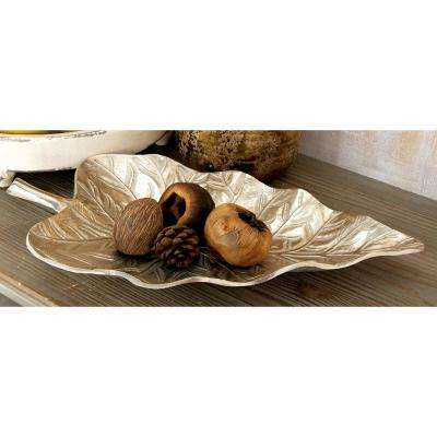 Modern Metallic Aluminum Leaf Tray (Set of 2)