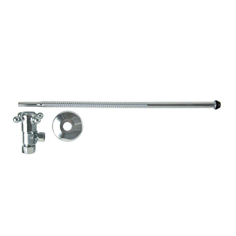 3/8 in. O.D x 15 in. Copper Corrugated Toilet Supply Lines with Cross Handle Shutoff Valves in Polished Chrome