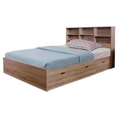 Luxurious Brown Full Chest Bed with 3-Drawers