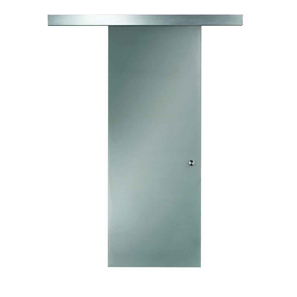 Pinecroft 26 In X 97 In Glass Barn Door With Sliding Door Hardware