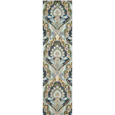 Wyndham Blue/Multi 2 ft. x 11 ft. Runner Rug