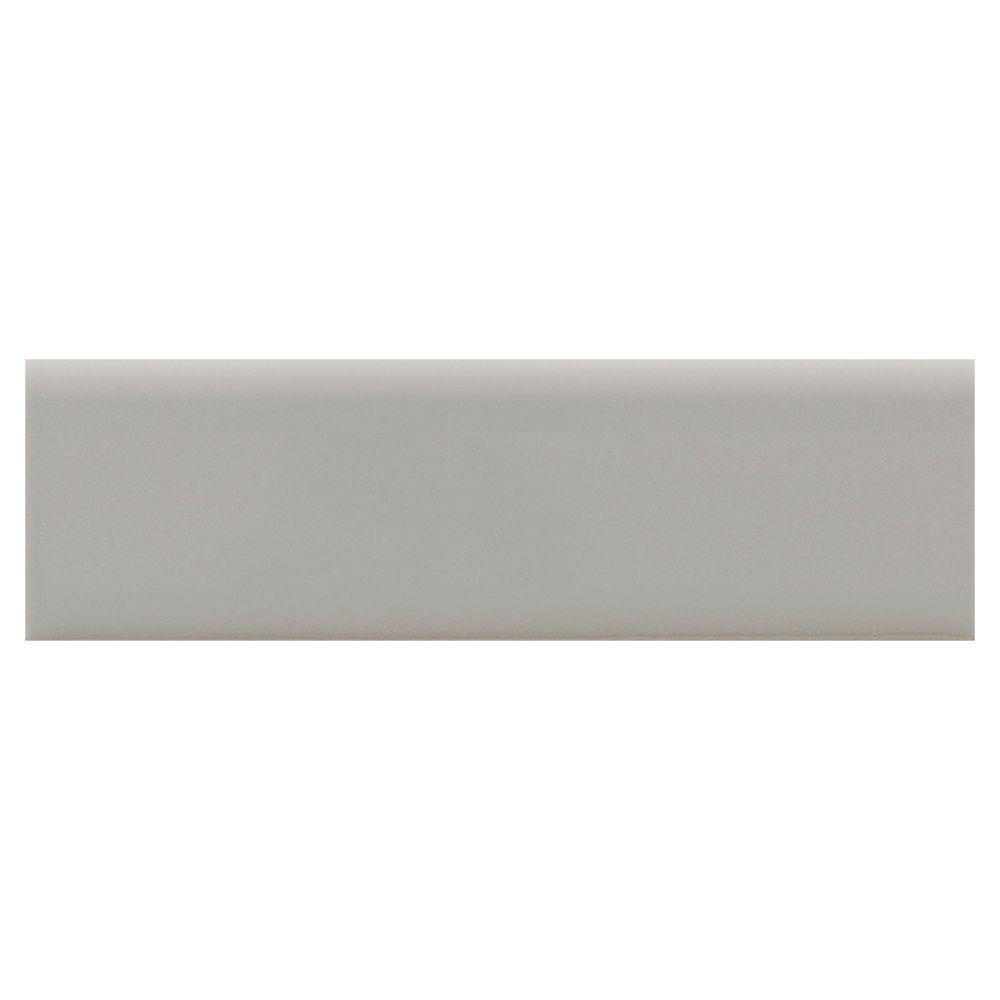Daltile Modern Dimensions Gloss Desert Gray 2-1/8 in. x 8-1/2 in. Ceramic Surface Bullnose Wall Tile -DISCONTINUED