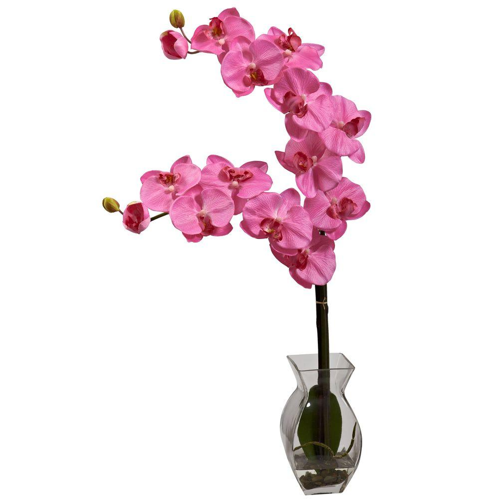 Nearly Natural Phalaenopsis Orchid with Vase Arrangement in Dark Pink