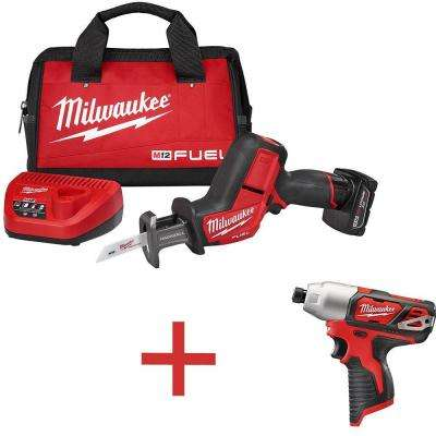 M12 FUEL 12-Volt Cordless Lithium-Ion Brushless HACKZALL Reciprocating Saw Kit with Free M12 1/4 in. Hex Impact Driver
