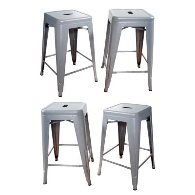 Loft Style 24 in. Stackable Metal Bar Stool in Silver (Set of 4)