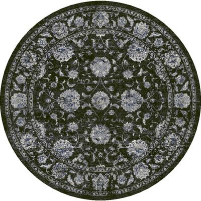 Ancient Garden Charcoal/Silver 5 ft. Round Area Rug