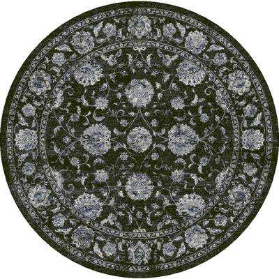 Ancient Garden Charcoal/Silver 8 ft. Round Area Rug
