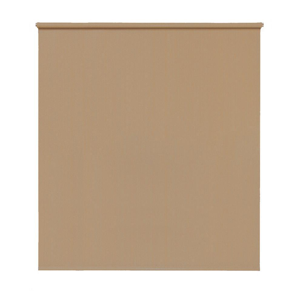 Spring Operated True to Size Hazelnut Cordless UV Blocking and Protection Privacy EXT Roller Shade 72 in.W x 72 in. L