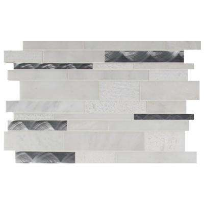 Moderno Blanco Interlocking 12 in. x 18 in. x 8 mm Metal Stone Blend Mesh-Mounted Mosaic Tile (15 sq. ft. / case)