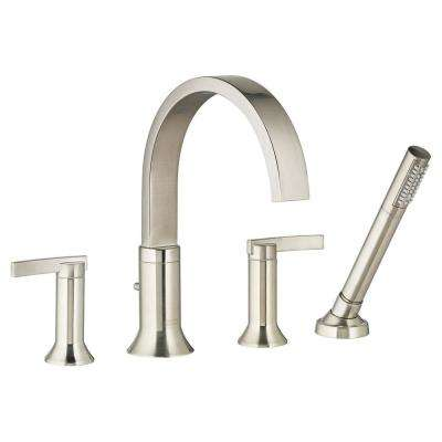 Berwick 2-Handle Deck-Mount Roman Tub Faucet with Hand Shower for Flash Rough-in Valves in Brushed Nickel