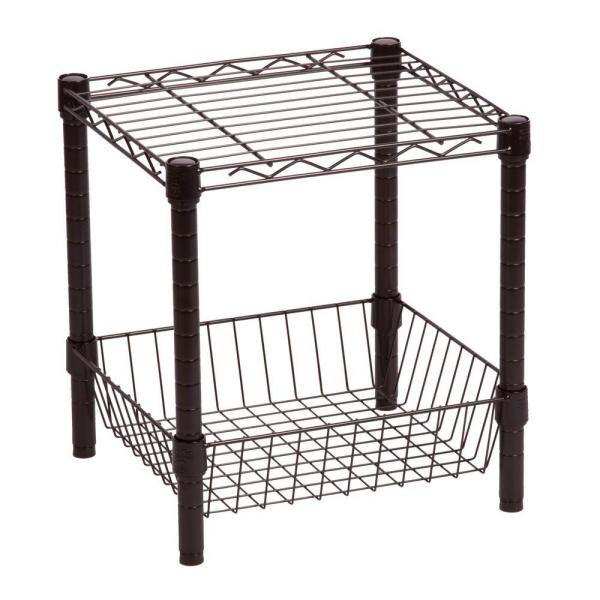 Black 2-Tier Wire Shelving Unit (14 in. W x 16 in. H x 15 in. D)