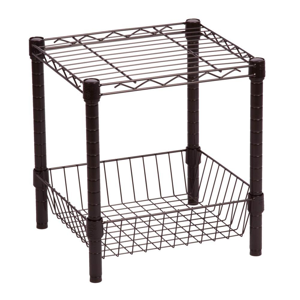 Honey-Can-Do Commercial Metal Table with Basket in Black