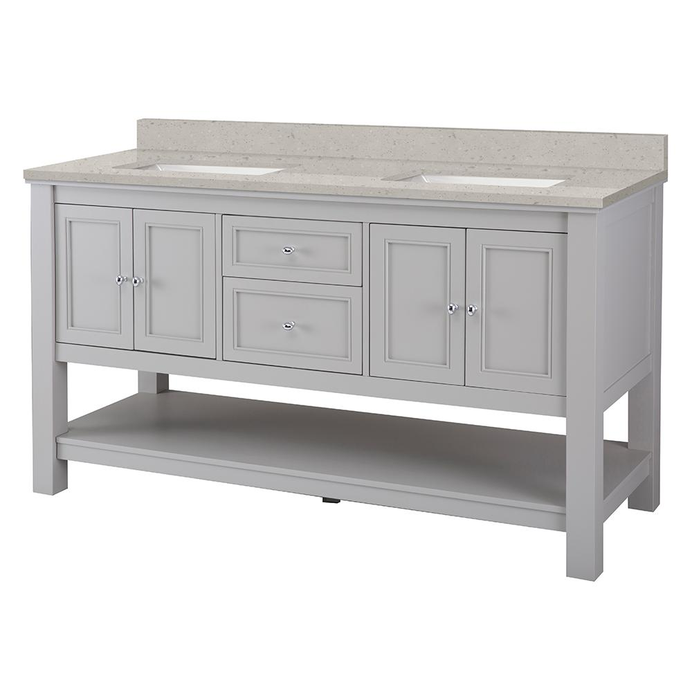 Home Decorators Collection Gazette 61 in. W x 22 in. D Vanity Cabinet in Grey with Engineered Quartz Vanity Top in Stoneybrook with White Sink
